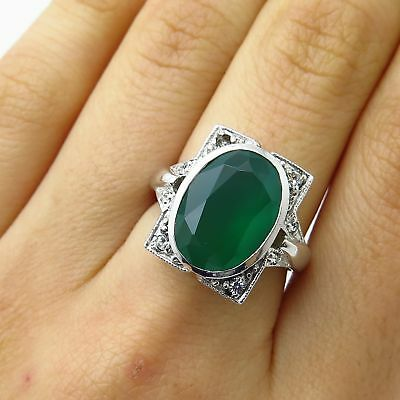 Vtg Jenna Nicole Sterling Silver Real Green Chalcedony Gem C Z Wide Ring Size 7