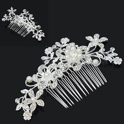 Women Bridal Diamante Rhinestone Flower Pearl Hair Comb Wedding Clip Accessories