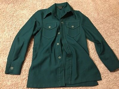 Vintage 1970's JCPenny Green Collared Long Sleeve Shirt Adult Small Great Shape