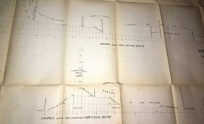 1866 Diagram Interoceanic Ship Canal via Atrato and Truando Rivers Michler
