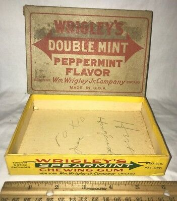 Antique Wrigleys Double Mint Spearmint Chewing Gum Candy Grocery Display Box Old