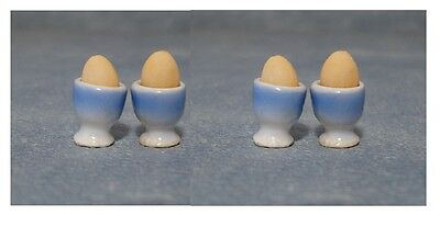 Dolls House Miniatures: Set of 4 Eggs in Egg Cups : 12th scale