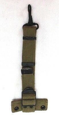 WWII Paratrooper Canteen Hanger extender Tan Canvas strap w Hook used Each E9738