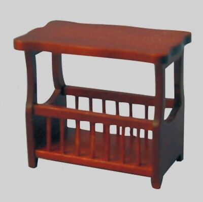 Dolls House Furniture: Mahogany Small Table with Magazine Rack   12th scale