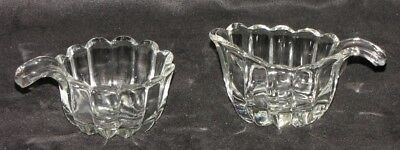 Lovely Vintage Curved Fluted Ladle Handle Glass Cream and Sugar Bowl Set