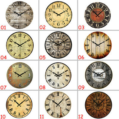 Vintage Style Wall Clock Round Art Living Home Decor Wooden Watches Large 38cm