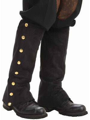 Deluxe Steampunk Cowboy Costume Black Boot Tops Spats