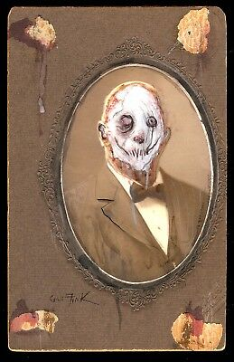 GUS FINK art ORIGINAL painting outsider lowbrow antique horror goth MR. SKINLESS