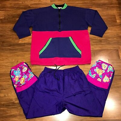 Vtg 80s COLOR BLOCK Womens SMALL Sweatshirt Top TRACK SUIT Jacket Coat Pants S