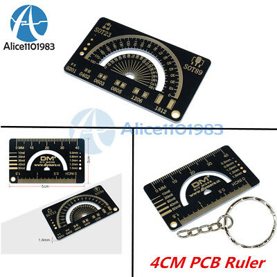 4CM Multifunctional FR4 PCB Ruler Measuring Tool Angle Measure Meter + Keychain