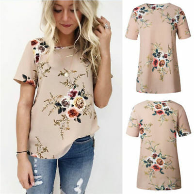 Womens Casual Tops Blouse Short Sleeve Crew Neck Floral T-Shirt Ladies