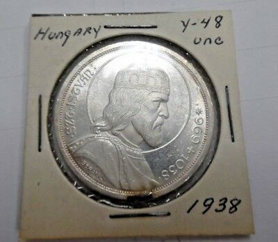 1938 Hungary 5 Pengo Silver Death of St. Stephan