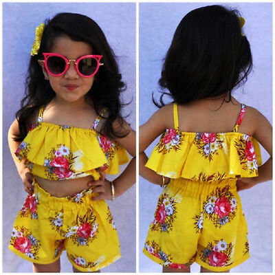 USA STOCK Toddler Kids Girls Royal Floral Strap Tops Shorts Outfits Set Clothes