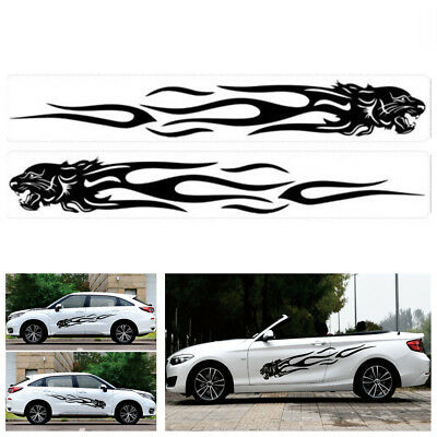 2X DIY Car SUV Body Side Decal Vinyl Leopard Head Flame Graphics Stripes Sticker