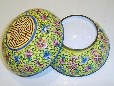 Fine Quality Early Antique Chinese Canton Enamel Lidded  Box 18Th C Cloisonne