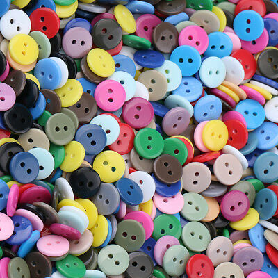 100pcs Flat Button Mixed Colors Resin Buttons 2 Holes DIY Sewing Crafts 9-25mm