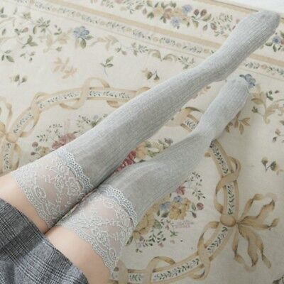 Women Lace Cable Warm Knit Over Knee Thigh High Stockings Socks Leggings Ladies