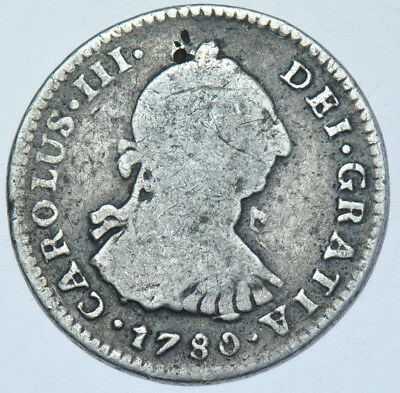 Mexico Spanish Charles Iii, Real, 1780-Ff Silver Coin Gf