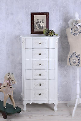 Chest of 6 Drawers White Shabby Chic wooden furniture Bedroom armoire dresser