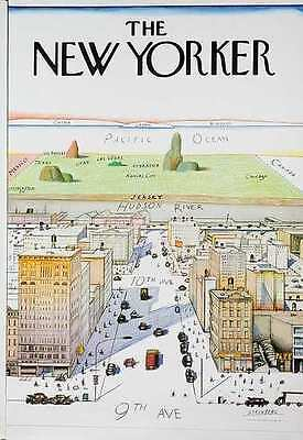 THE NEW YORKER, 1976 by Saul Steinberg - Original Rare 1976 Poster w/ COA