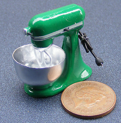1:12 Scale Non Working Green Food Mixer Dolls House Miniature Kitchen Accessory