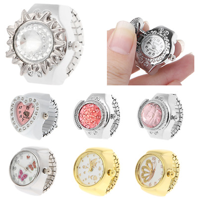 Women Dial Quartz Analog Finger Heart Ring Watch Pocket Elastic Gift Steel