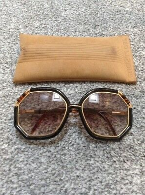 Vintage 70s TED LAPIDUS PARIS Oversize Sunglasses France Brown Tortoise Gold