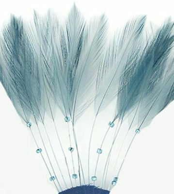 Blue Stripped Hackle Coque Feathers. Country Blue Feathers for Fascinators, Hats