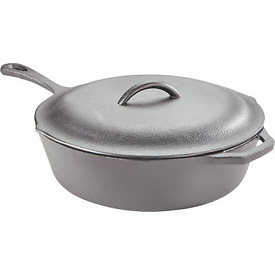 Pre-Seasoned Cast Iron Chicken Fryer Deep Skillet with Lid-13in Dia. x 6inH
