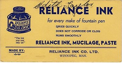 Reliance Ink Company Limited Ink Blotter For Every Make of Fountain Pen wolu6