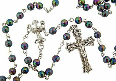 My First Communion Boys Gift Metallic Black Bead Rosary with Chalice Centerpiece