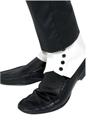 Adults White Roaring 20s Gangster Costume Vinyl Spats Costume Accessory