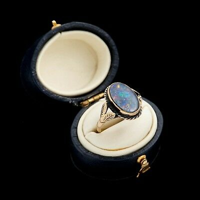 Antique Vintage Art Deco Retro 9k Rose Gold Australian Black Fire Opal Ring Sz 7