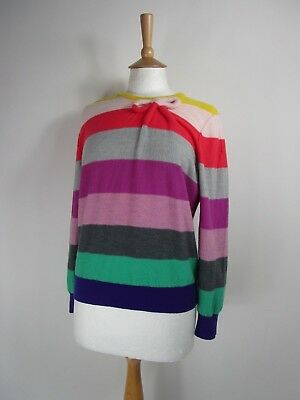 Vintage Sonia Rykiel Pure Merino Wool Rainbow Stripe Jumper UK Size 14