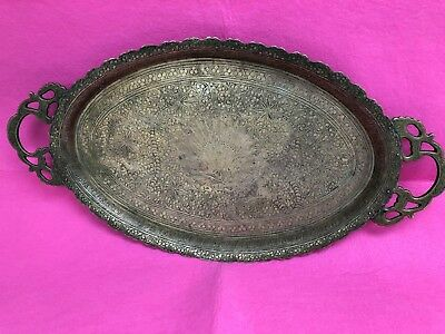 Islamic- Tray-Hand Engraved-Middle Eastern-Persian-Peacock In Garden-Palm Trees