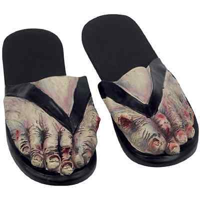 Adult Zombie Feet Costume Slippers Shoes Walking Dead Flip-Flop Sandals LARGE