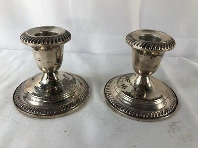 """Vintage Hunt Hallmark Weighted Sterling Silver Candle Stick Holders 3"""" Tall"""