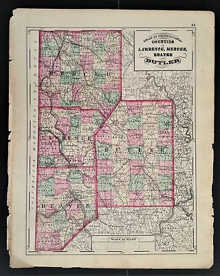 1872 antique hand colored MAP pa LAWRENCE MERCER BEAVER BUTLER co 17.25x13.75