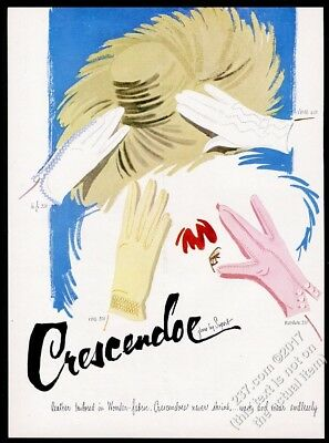 1955 Crescendoe women's gloves 4 styles color art vintage print ad