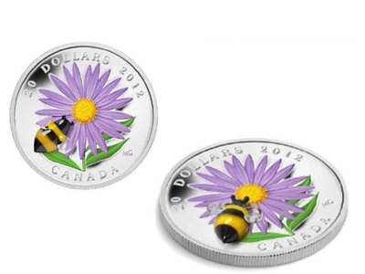 20$ Aster Bumble Bee Hummel Cristal Murano Canadá 2012 Pp Plata 1 Onza
