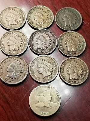 LOT OF 9 -INDIAN CENTS CIRCULATED MIXED DATES 1900's & 1 FLYING EAGLE