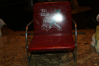 "Vintage Tom Thumb Red Child Barber Table Booster Seat 11"" Tall Metal Frame"