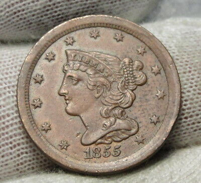 1855 Braided Hair Half Cent - Rare Only 56,500 Minted . Nice Coin (6988)