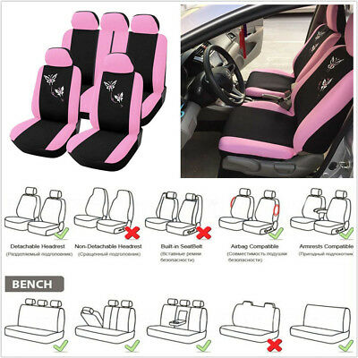 Universal One Set Car Autos Seat Cover Butterfly Embroidery Cushion Black & Pink