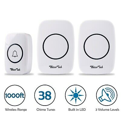 LED 3 Volume 1000FT Wireless Doorbell 38 Chime [2 Plugin Receiver+1 Transmitter]