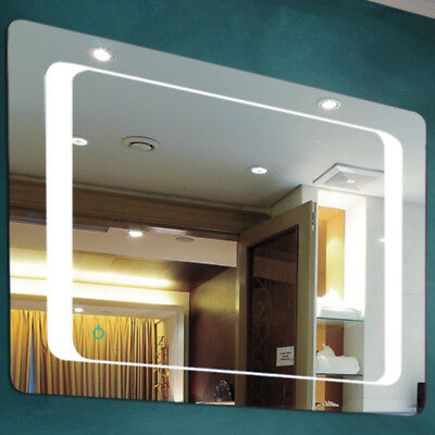 LED Illuminated 80 x 60cm Rectangular Wall Mirror Light Demister Dimmer - SP1215