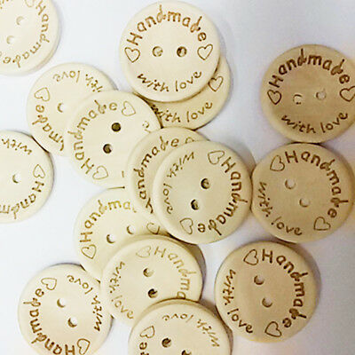 100pcs Wood Round Handmade 2 Holes Wooden Buttons Sewing Scrapbooking Craft DIY