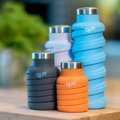 Que Bottle Collapsible Travel Reusable Drinking Water Eco BPA Free Gym Designer