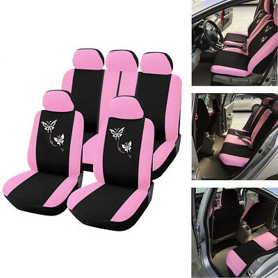 Pink Women Butterfly Embroidery 5-Seat Car Interior Seat Cover Protector Cushion