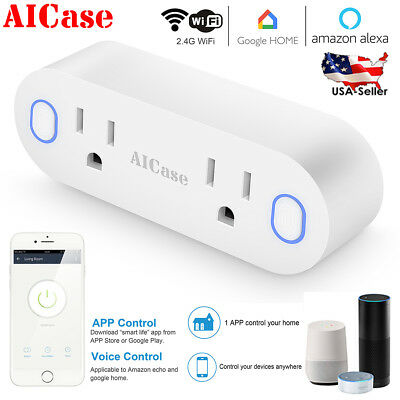 WiFi Smart US Plug Dual Outlet Socket Wall Switch Works with Alexa Google Home